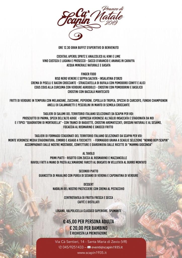 Menù Pranzo di Natale 2019 a Ca Scapin Verona